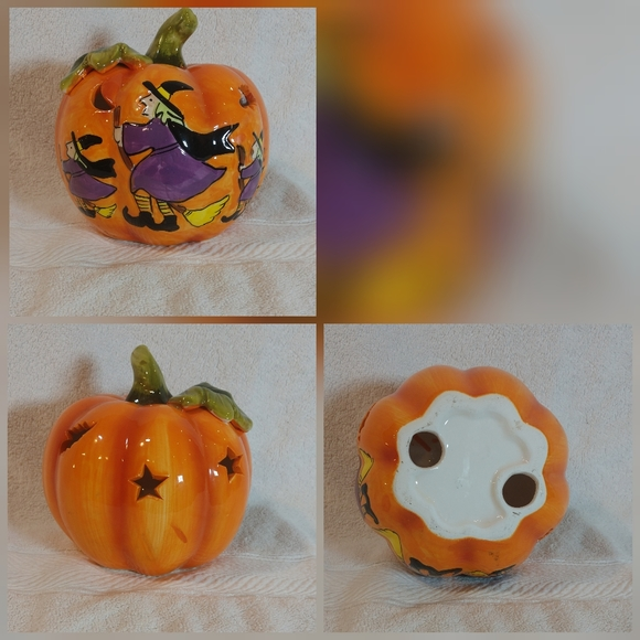 """Other - Pumpkin With Witches Halloween Ceramic Decor 6x6"""""""